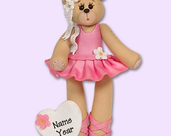 PERSONALIZED BALLERINA Belly Bear Christmas Ornament HANDMADE Polymer Clay