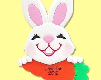 Personalized EASTER BUNNY Ornament Handmade Polymer Clay