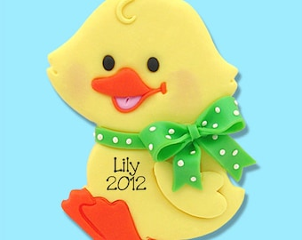 PERSONALIZED Baby Duck Ornament Handmade Polymer Clay
