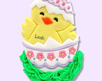 Personalized EASTER CHICK in Egg Ornament Handmade Polymer Clay