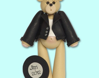 RETRO 50's Boy Bear HANDMADE Polymer Clay Personalized Christmas Ornament