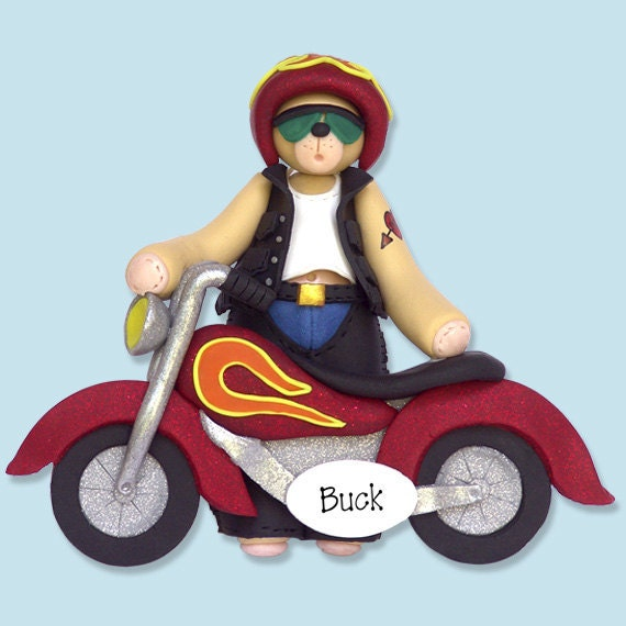 Belly Bear BIKER / Motorcycle - Handmade Polymer Clay Personalized Christmas Ornament