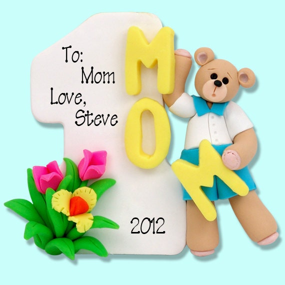 Personalized Number 1 MOM - Mother's Day Personalized Ornament Handmade Polymer Clay