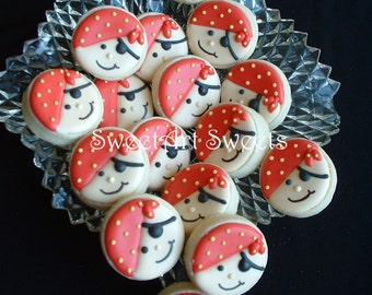 Pirate cookies - 2 dozen - MINI pirate cookies - birthday cookies - Decorated cookies