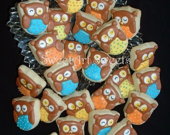 Fall cookies - Halloween cookies - Owl Cookies - 2, 3, or 4 dozen MINI owl cookies - decorated cookies