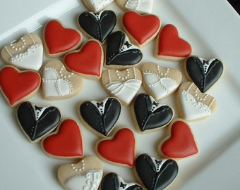 Wedding cookies - MINI bride and groom heart cookies - decorated cookie favors - 2, 3, or 4 dozen