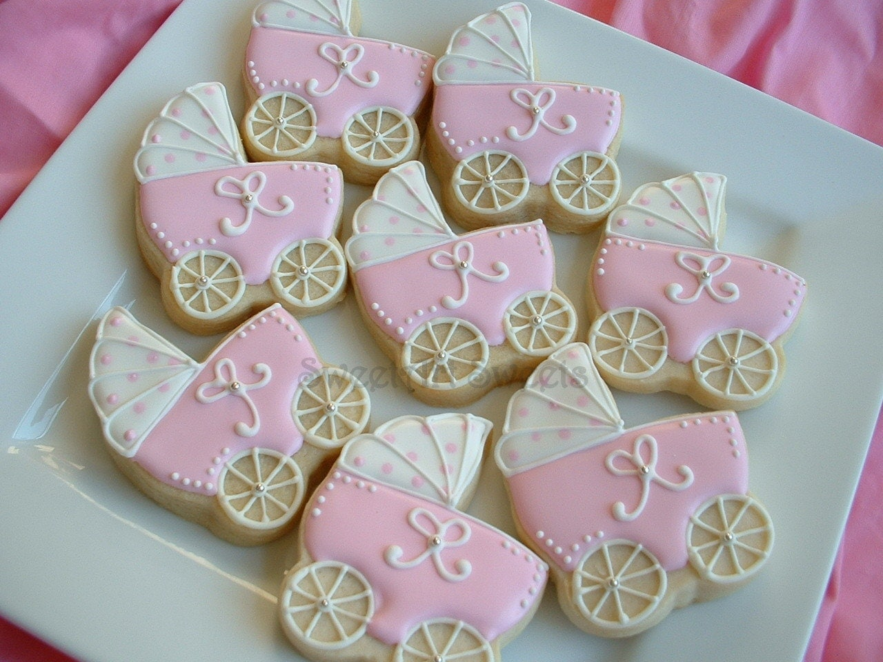 Baby Shower Cookies   Baby Stroller Cookies   1 Dozen Baby Carriage Favors    Personalized Cookies