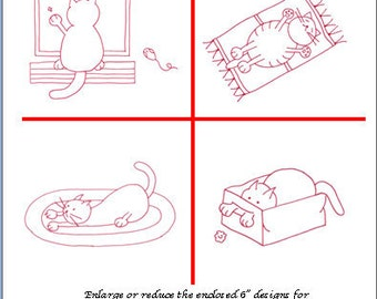 Playful Kitties 4 Redwork Designs