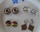 Silver and Ice Pierced Earrings -  4 Pair Lot - Destash Vintage Earrings - By Gone Disco Days - Great For Work or Play