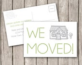 We Have Moved Postcard Announcement - customize. modern open house invite. home. house