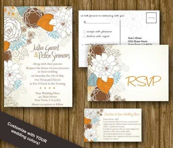 Wedding Invitation RSVP And Insert DIY Printable By
