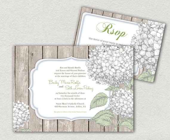 Wedding Invitations and RSVP - DIY Printable. Hydrangea and wood, rustic. (1020)