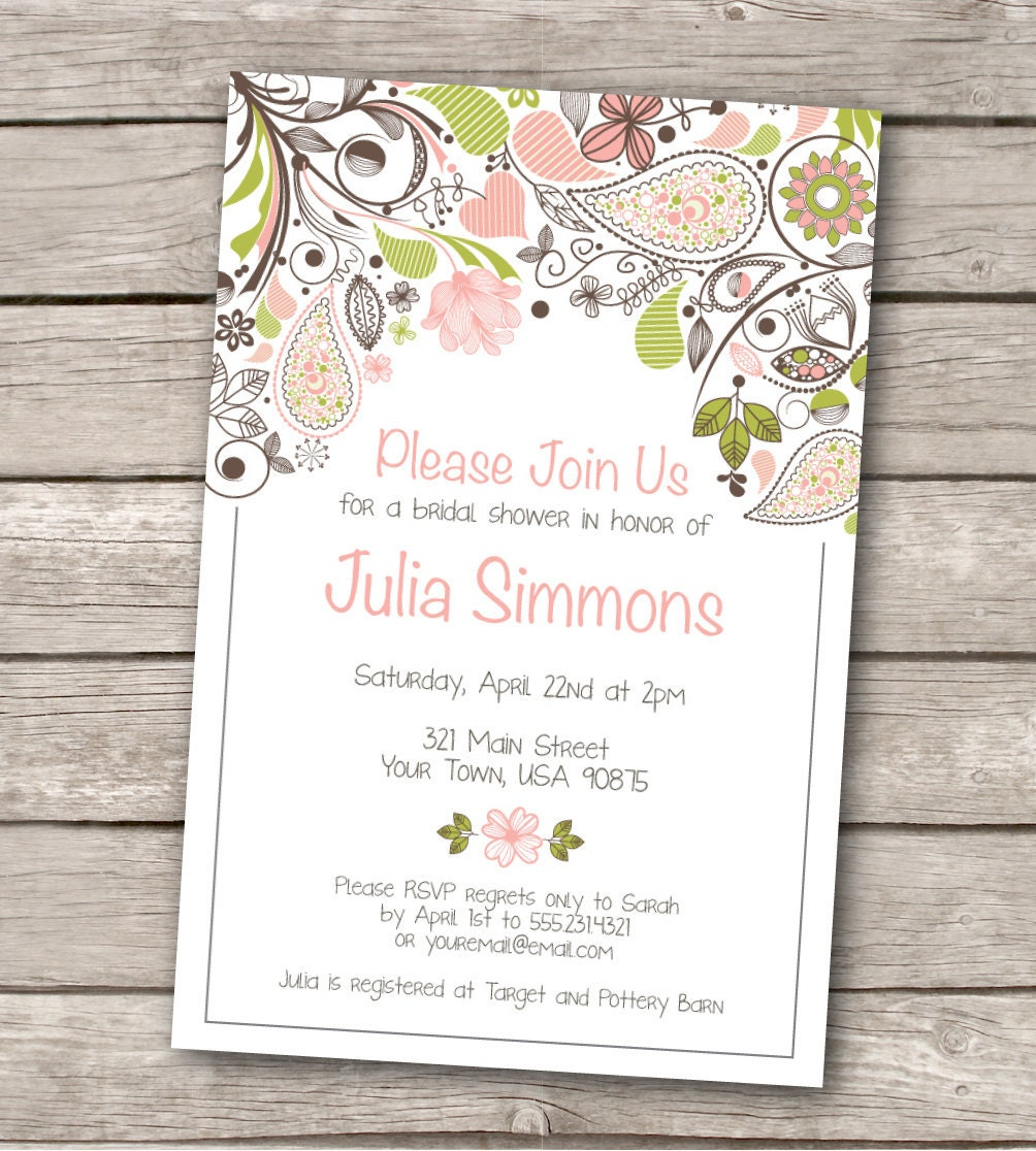 Bridal Shower Invitation Custom. printable by WestandPine ...