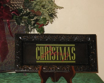 Decorative tray with vinyl lettering