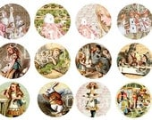 Digital Art Sale Design, Collage Sheet, Alice in Wonderland Circles for Crafts, Stickers, Scrapbooking Embellishments, Instant Download