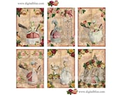 Digital Collage Sheet Marie Antoinette Visits the Eiffel Tower in Paris ATC Full color, Instant Download