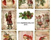 Digital Art Sale Design, Download Joyeux Noel Holiday ATC Gift Tags, Instant Download