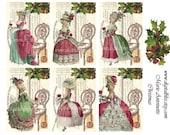 Digital Art Sale Design, Collage Sheet Marie Antoinette Christmas Scrapbook Embellishment, Instant Download