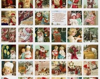Digital Art Sale Design, Christmas Digital Images Collage Sheet, Vintage Santa Claus Illustrations, Square Tiles, Instant Download