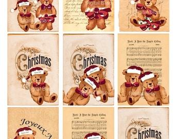 Digital Art Sale Design, Download Christmas Bears Original Design ATC, Instant Download