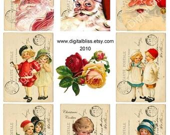 Digital Christmas Tags, Vintage Tags, Santa Tags, Gift Tags, Hang Tags, Digital Download Christmas Postcards ATC