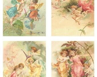 Digital Collage Sheet Angels Background A2 Cards Scrapbooking Printable Download