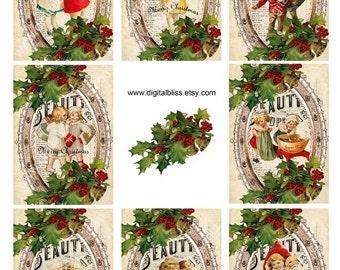 Digital Art Sale Design, Digital Download Christmas Vintage Children Gift Tags ECS ATC, Instant Download