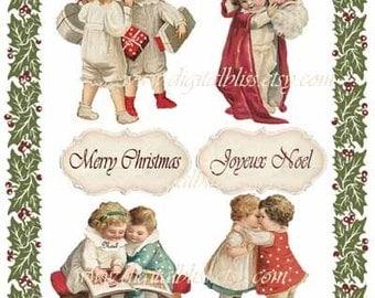 Digital Art Sale Design, Download Christmas Vintage Children and Christmas Border Vignettes, Instant Download