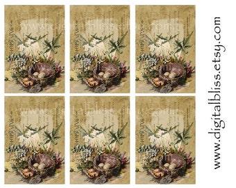 Digital Download, Birds Nest Tags, Vintage Tags, Digital Download, Hang Tag Download, Ephemera, ATC, Gift Tag Digital Art, Bird tag