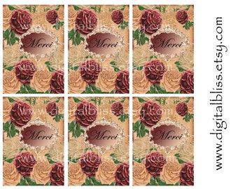 Vintage Tags Digital Download no.105 You Print French Roses Merci Chic Gift/Hang Tags