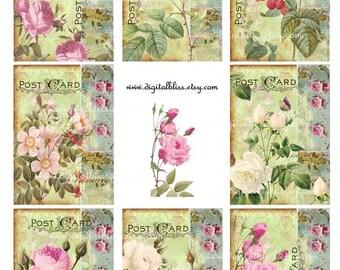 Digital Art Sale Design, Collage Sheet Botanical Postcards Vintage Flowers ATC Scrapbook Embellishment