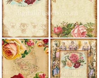 Instant Download Cards, Rose Digital Cards, Digital Collage Sheet, Vintage Roses Background, A2 Cards, Scrapbooking Printable Download