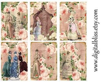 Digital Tags, Digital Art Sale Design, Collage Sheet Victorian Women Roses ECS ATC