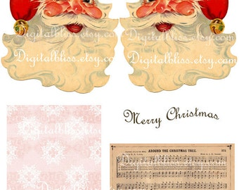 Digital Art Sale Design, Download Christmas Build a Santa Tag Collage, Instant Download