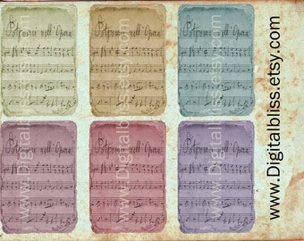 Digital Down load, Music Sheets, Digital Collage Sheet, Vintage Colors Distressed Music Sheet, Tags Scrapbooking, Printable Download