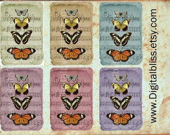 Digital Download, Music Sheets, Butterflies, Digital Collage Sheet, Colored Distressed Music Sheet, Tags Scrapbooking, Printable Download