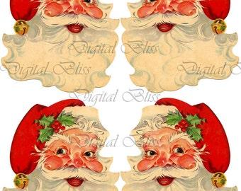 Vintage Santa Pace Digital Download Christmas Santa Face Tag Collage Sheet, Jolly Santa, Happy Santa, Father Time, Digital Art Design