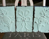"""Three Genuine Antique Ceiling Tin 6"""" x 9.5"""" inch Tiles -- Mint Green Colored Paint"""