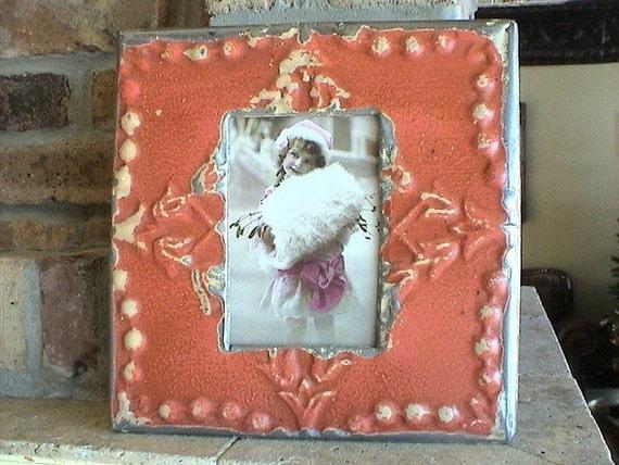 Genuine Antique Ceiling Tin Picture Frame
