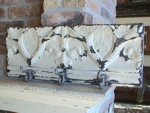Genuine Antique Ceiling Tin Keyhook - Hat Rack