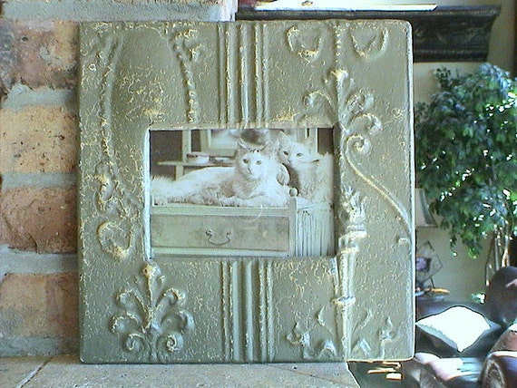 Genuine Antique Ceiling Tin Picture Frame