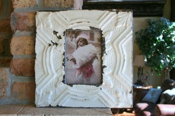 Genuine Antique Ceiling Tin Picture Frame --  4 x 6