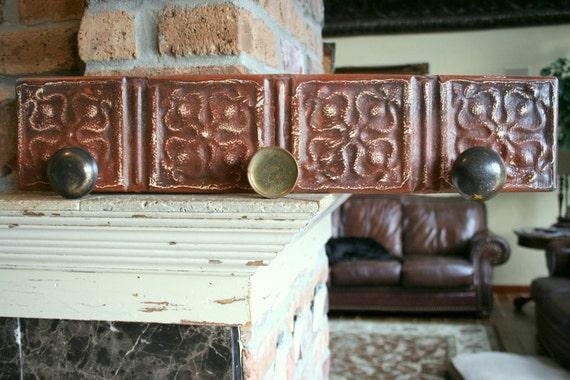 Genuine Antique Ceiling Tin -- Coat or Hat Rack