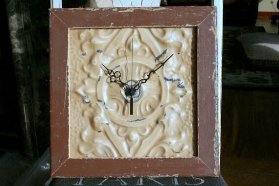 Genuine Antique Ceiling Tin and Wood Clock