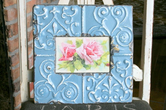 Genuine Antique Ceiling Tin Picture Frame -- 4 x 6 -- Blue Colored Paint with great highlights