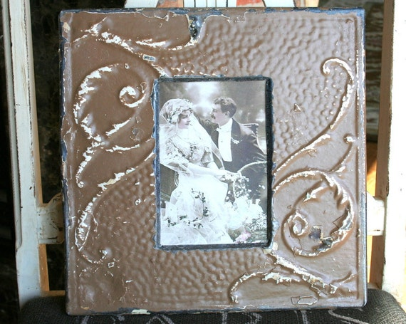 Genuine Antique Ceiling Tin Picture Frame --  4 x 6 -- Light Brown Colored Paint