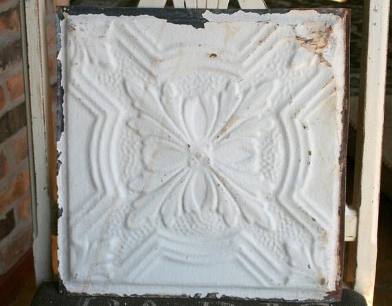 "Genuine Antique Ceiling Tile -- 12"" x 12"" -- Bright White Paint"