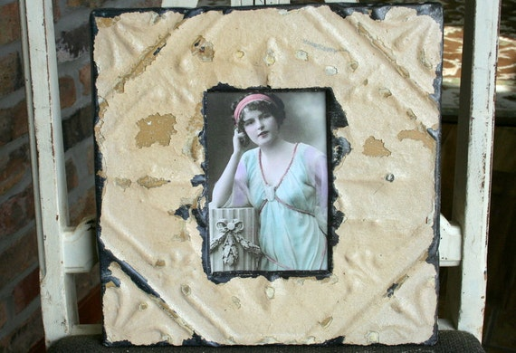 Genuine Antique Ceiling Tin Picture Frame -- Tan Colored Paint