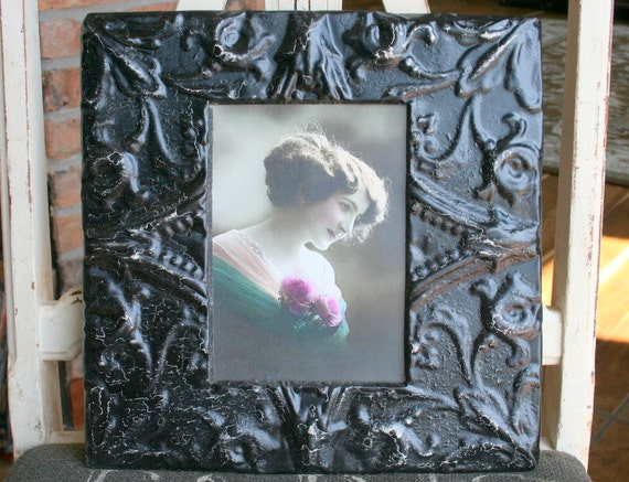 Genuine Antique Ceiling Tin Picture Frame --  5 x 7 --- Black Paint with a Pretty Design