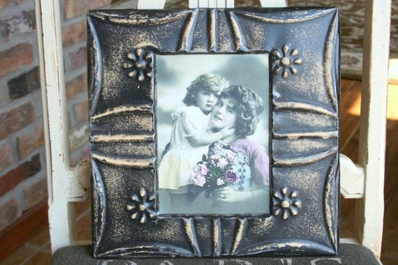 Genuine Antique Ceiling Tin Picture Frame -- Black Paint with Beautiful Tan Highlights